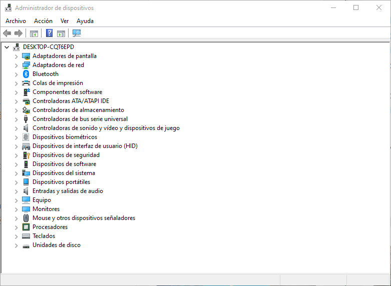 Administrador de dispositivos en Windows 10