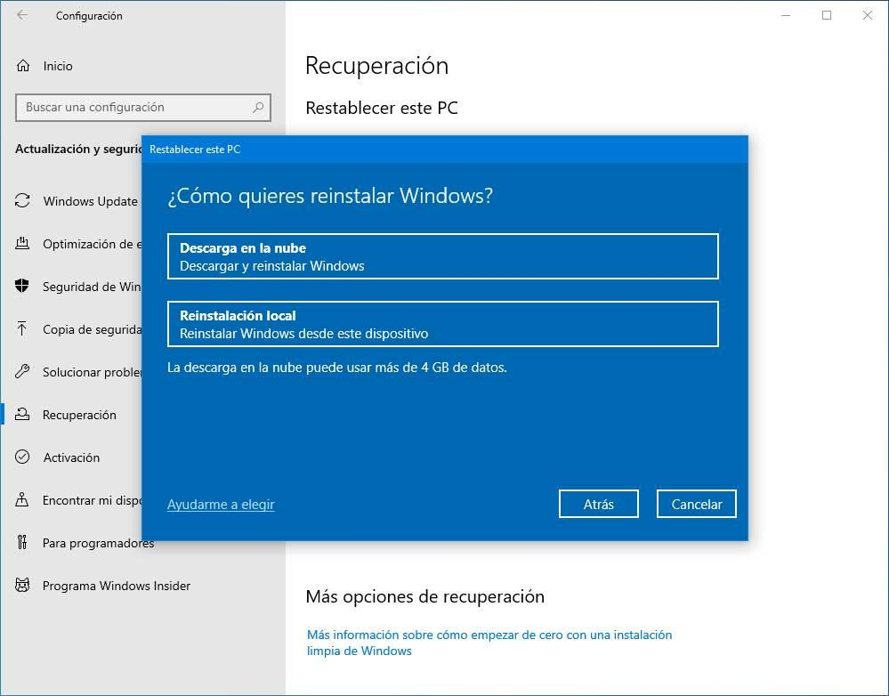 Descarga en la nube restablecer Windows 10