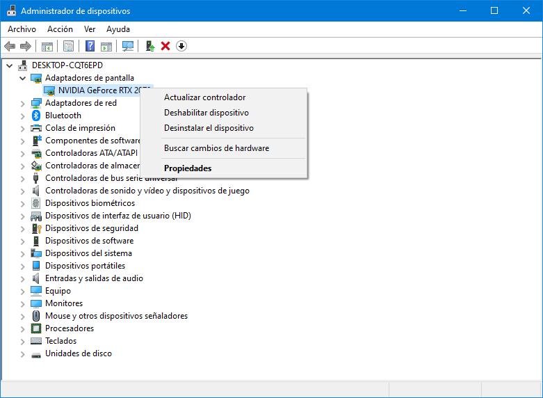 Menú contextual propiedades dispositivo Windows 10