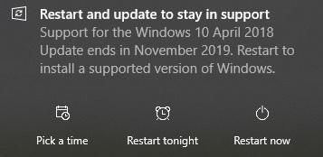 Mensaje actualizar April 2018 Update