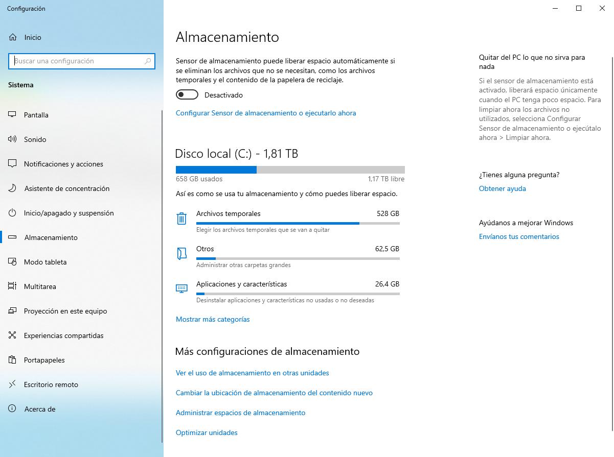 Sensor almacenamiento Windows 10 19H1 - 1
