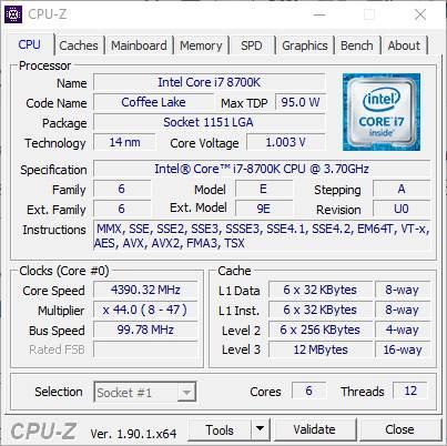 CPU-Z - Información sobre CPU - 1