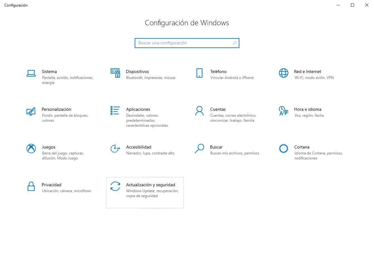 Configuración W10 Actualización y seguridad