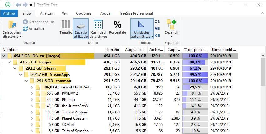 Espacio en discos duros con TreeSize