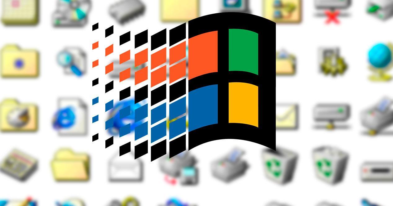 Logo de Windows 95 con iconos