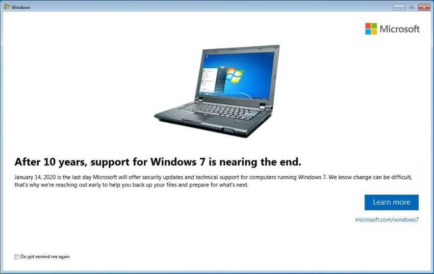 Mensaje final soporte Windows 7 Pro
