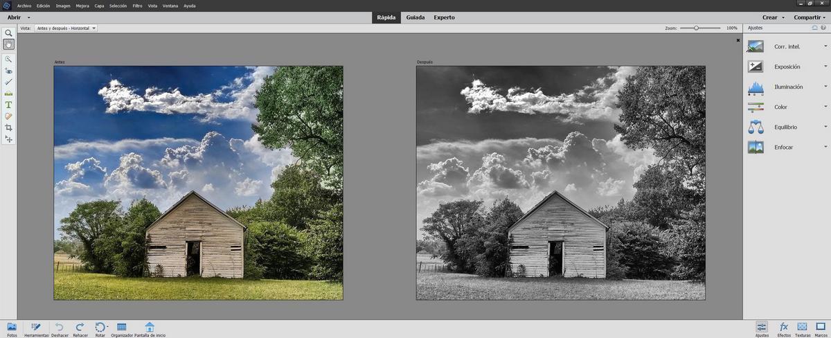 Photoshop Elements - Comparativa antes y después