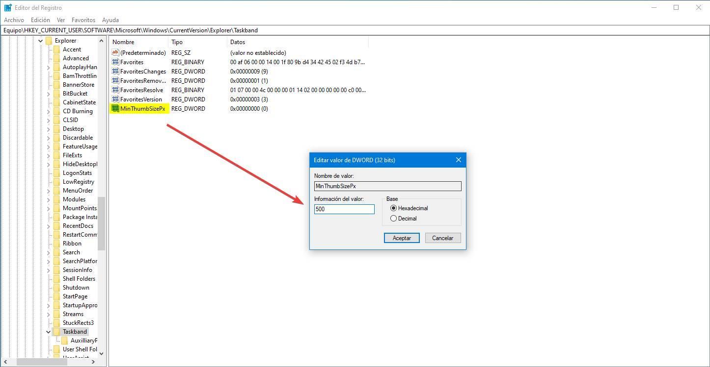 Regedit cambiar tamaño miniatura Windows 10