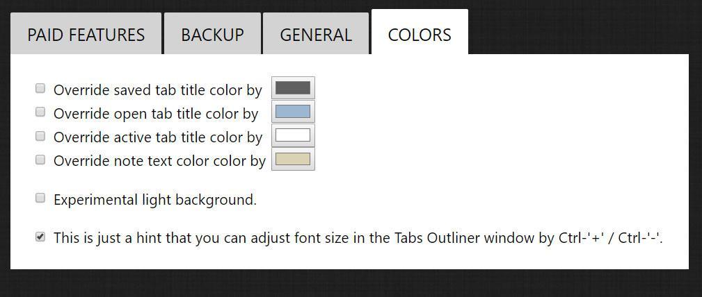 Tabs Outliner chrome