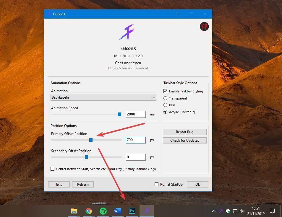 Cambiar posición iconos barra tareas FalconX