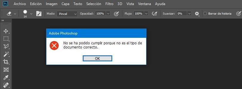 Error Photoshop abrir WebP