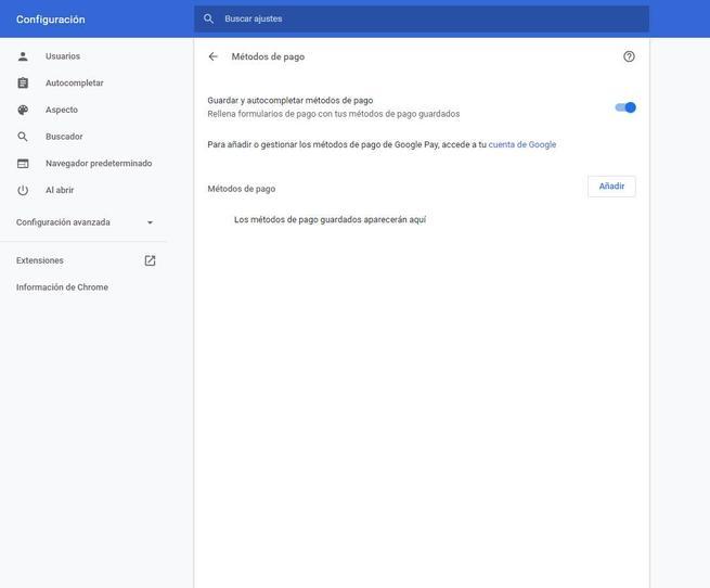 Información de pago guardada en Google Chrome