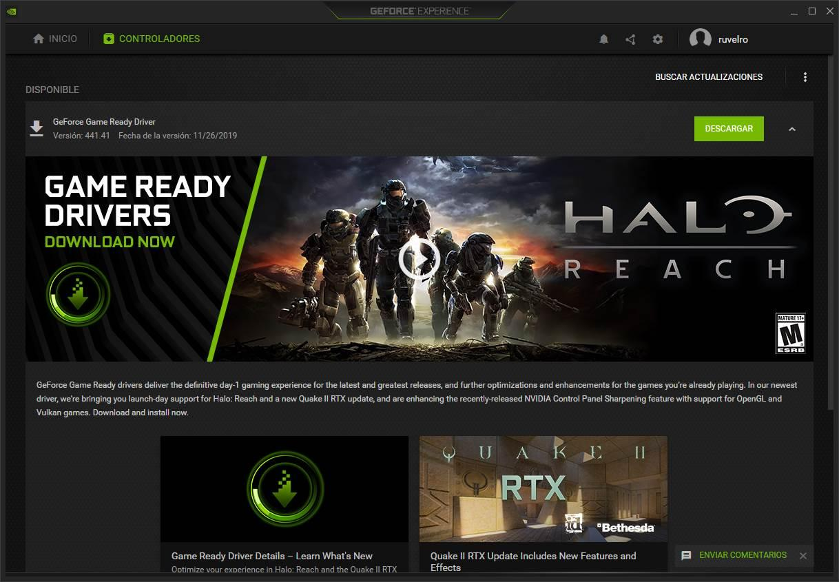 NVIDIA GeForce Experience - Actualizar Drivers