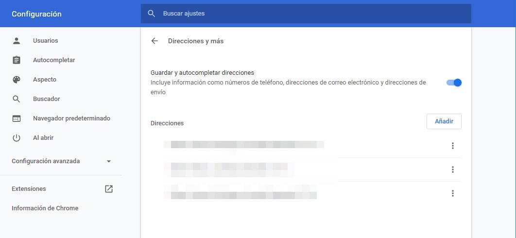 Personalizar autocompletar direcciones Chrome