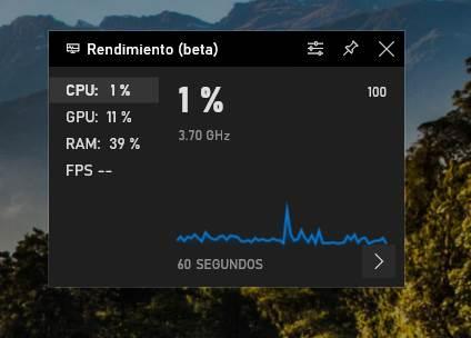 Plugin rendimiento barra de juego Windows 10