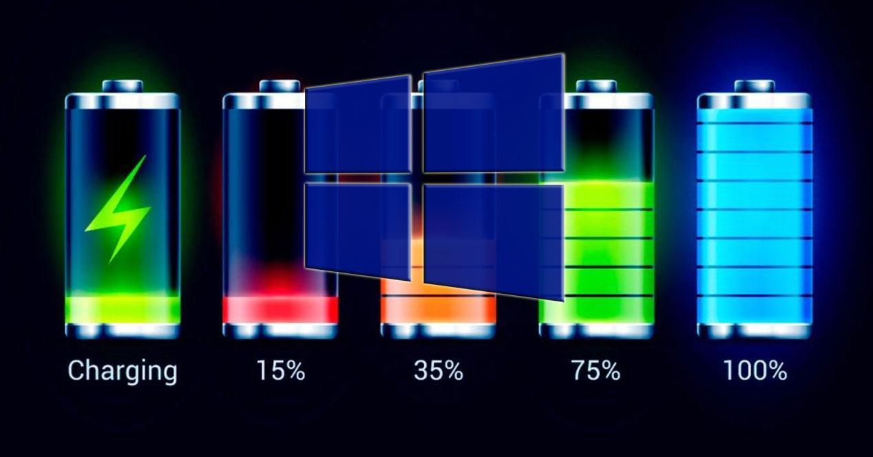 niveles de batería en Windows