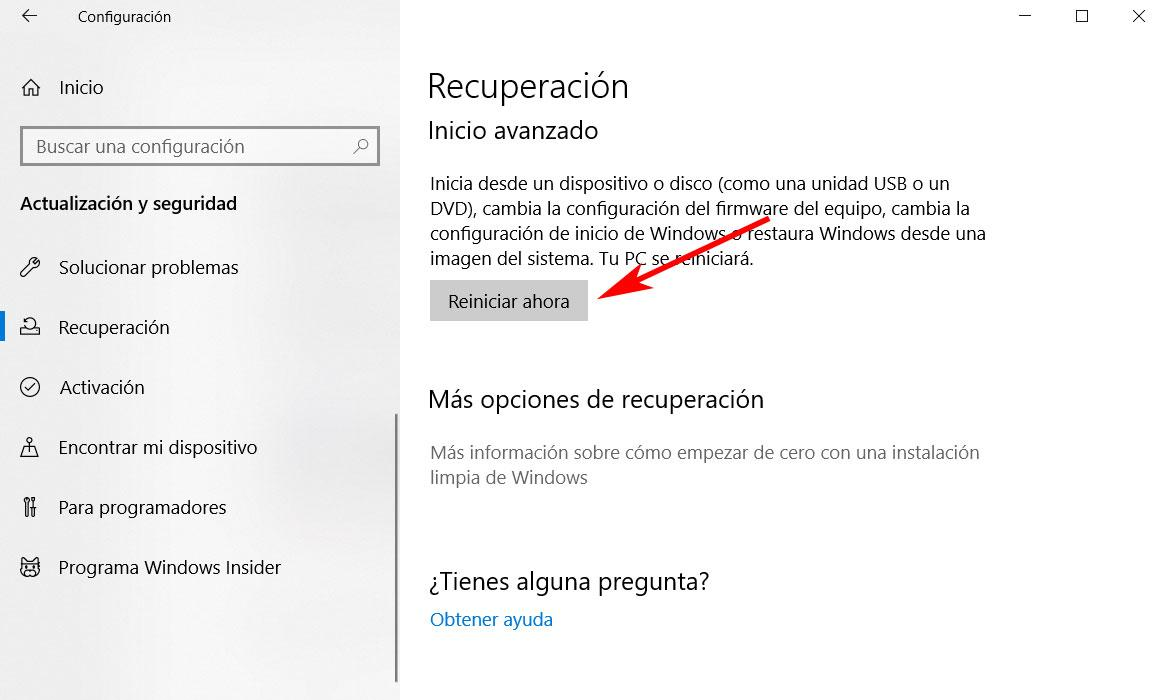 Inicio avanzado Windows 10