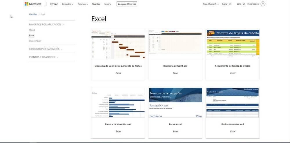 Web Microsoft Excel Plantilla