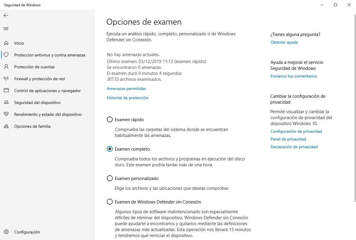 Windows Defender - examen de seguridad