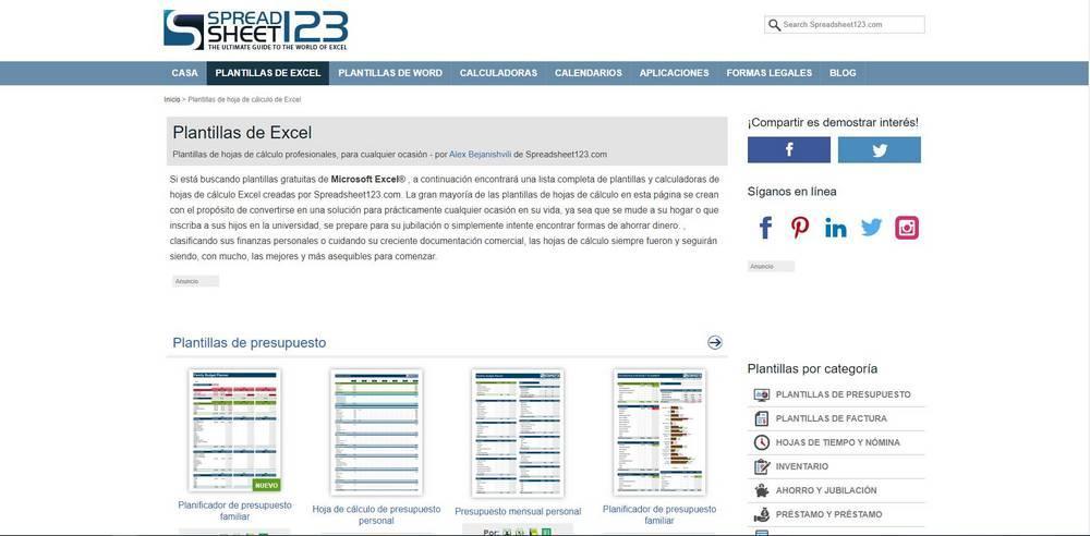Plantillas excel spreadsheet123