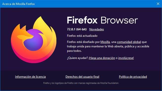 Descarga Firefox, actualizalo y prueba las versiones Nightly y Beta Acerca-de-Firefox-72