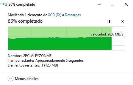 Alt velocidad copiar archivos de USB a PC