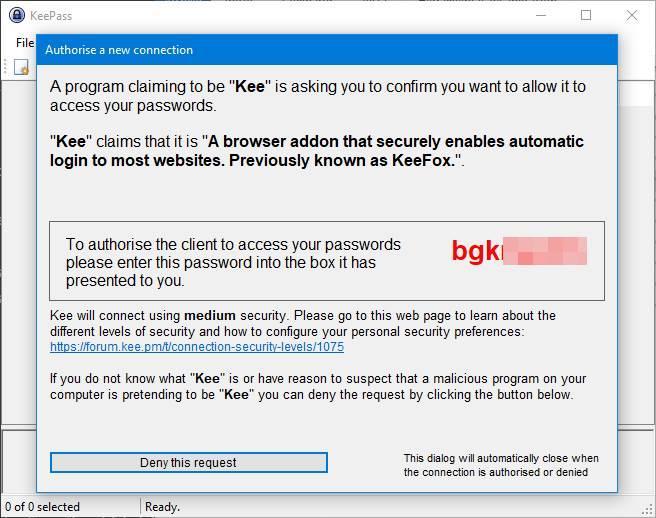 Clave conexión Kee KeePass