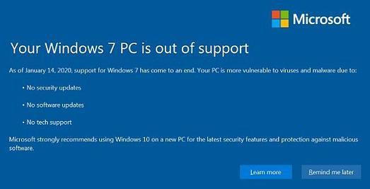 PC Windows 7 sin soporte