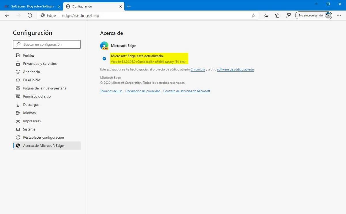 Versão do Microsoft Edge