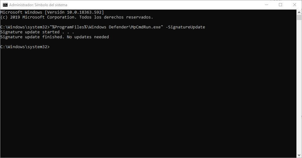 CMD - Actualizar base de datos Windows Defender