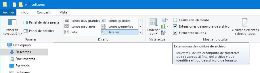 Mostrar-uitbreidingen van de archivos en Windows
