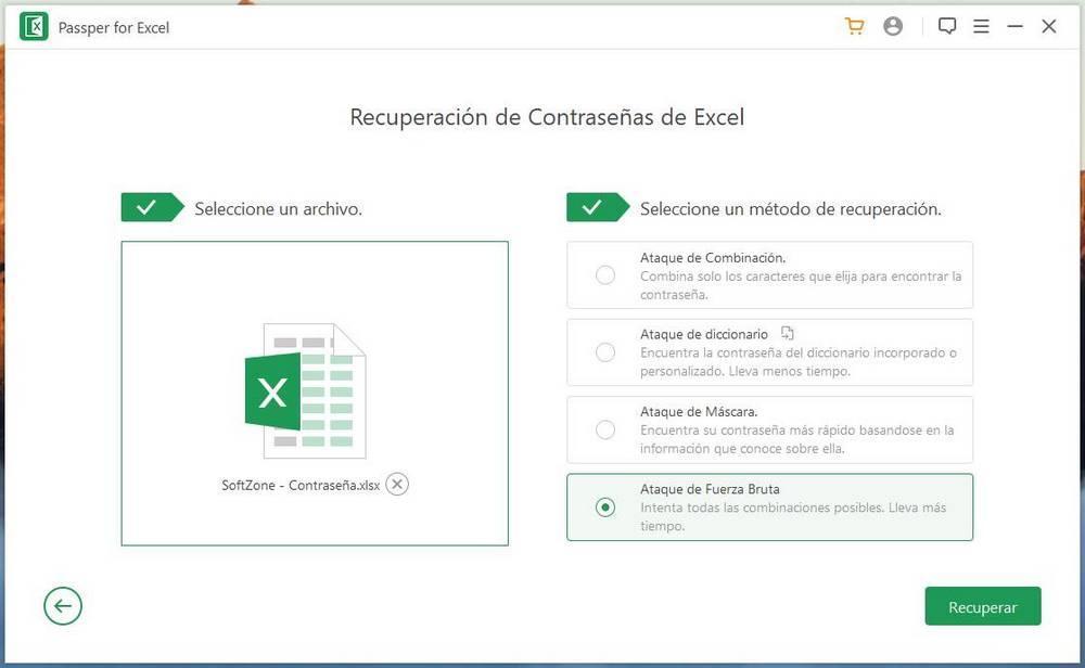 Passper for Excel - Averiguar contraseña 1