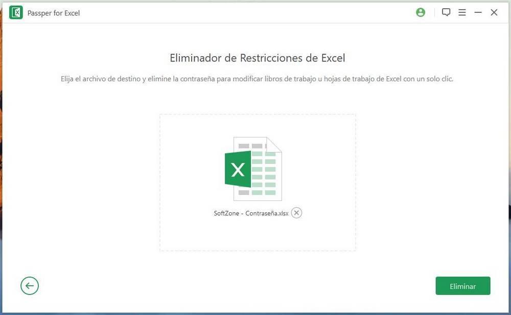 Passper for Excel - Eliminar restricciones