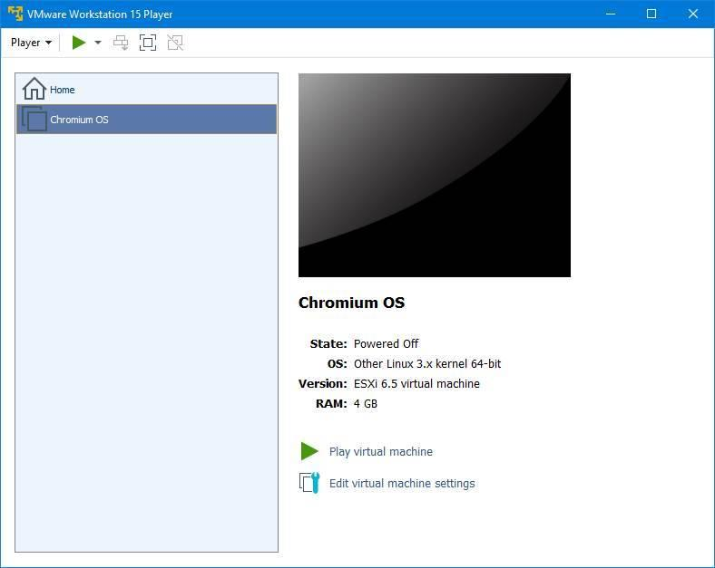 VMware Player - Chromium OS listo