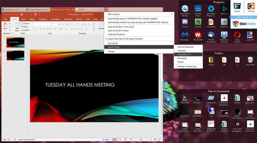 Agrupar programas Object Desktop