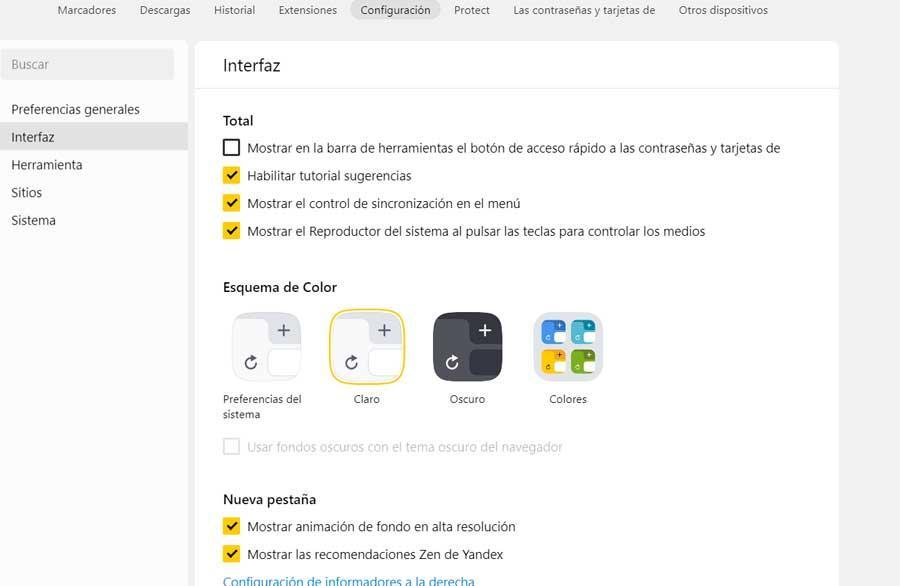 Configuración Yandex