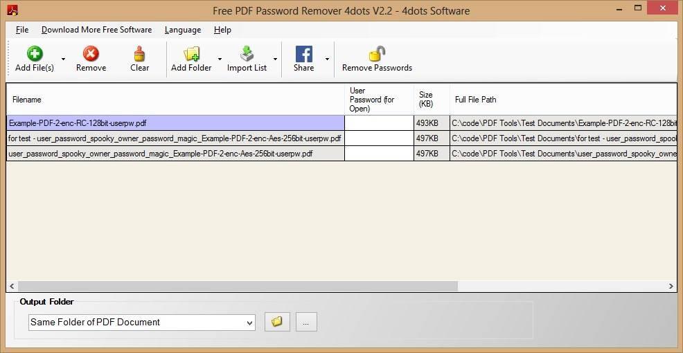 4dots Free PDF Password Remover