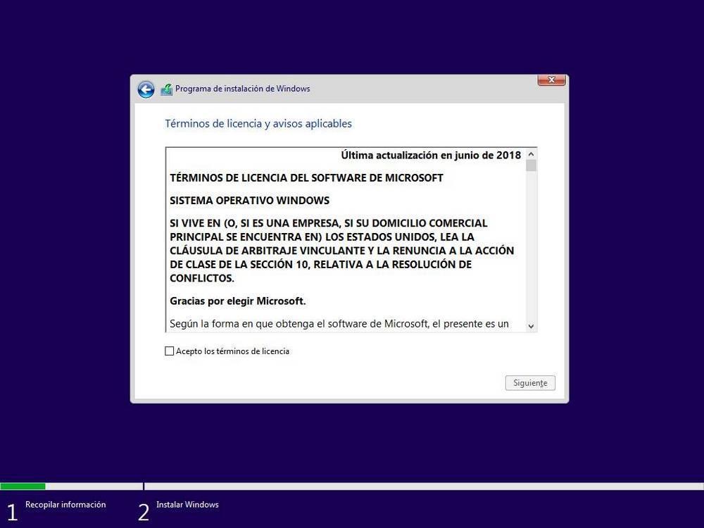 Acceptați termenii de utilizare Windows 10