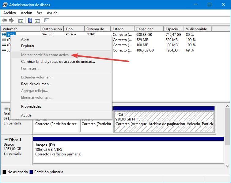Administrateur de discos de Windows 10 - Partición como activa