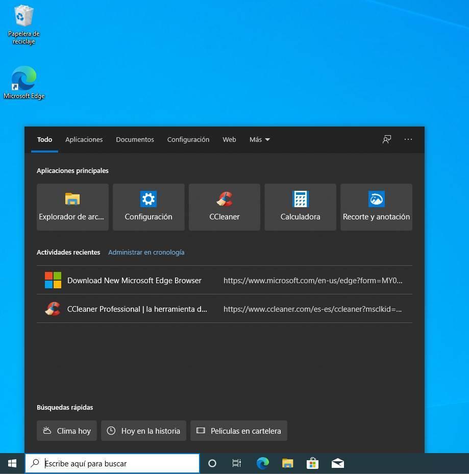Buscador Windows 10 2004