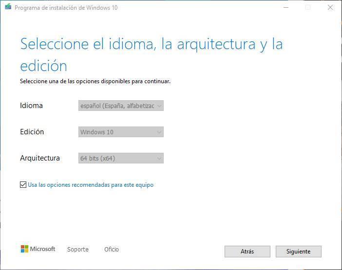 Creați USB pentru a instala Windows 10 - Alegeți limba, arhitectura și ediția