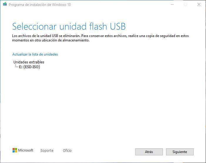 Creați USB pentru a instala Windows 10 - Alegeți unitatea USB