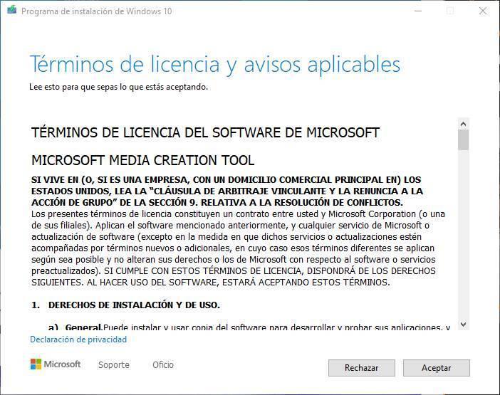 Creați USB pentru a instala Windows 10 - Termeni de licență