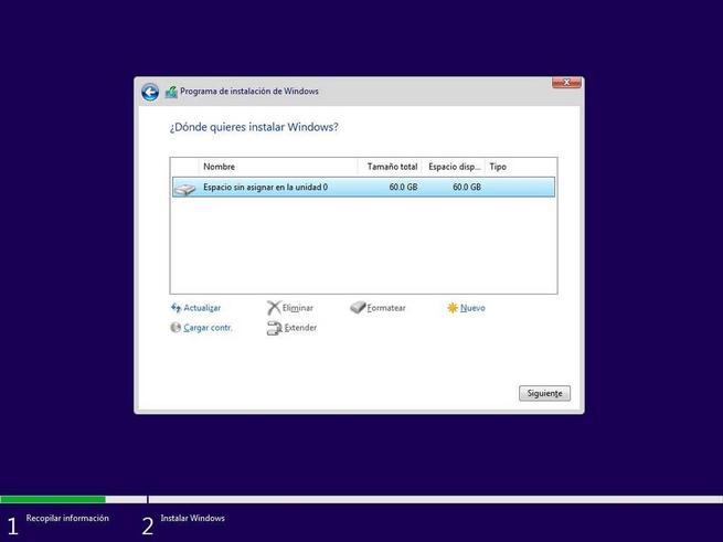 Alegeți discul și creați partiții pentru a instala Windows