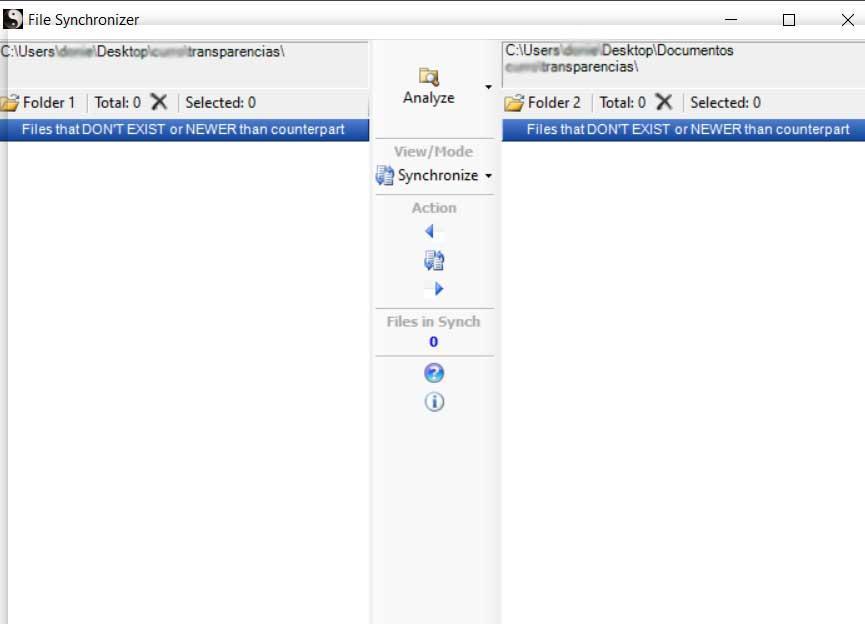 Interface de synchronisation de fichiers