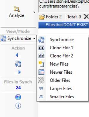 Menu Synchroniseur de fichiers