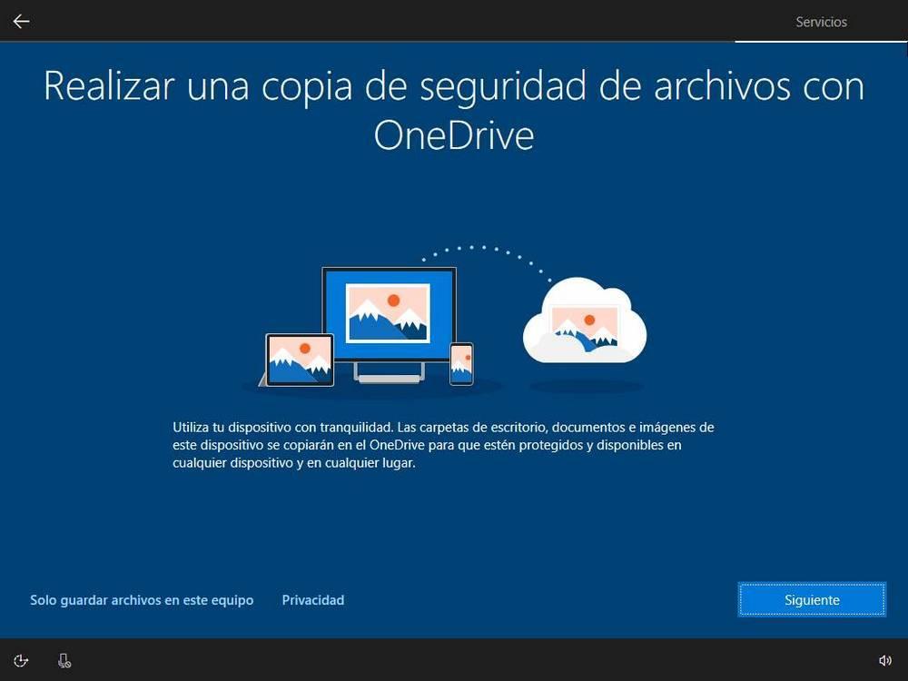 Instalați Windows 10 - OneDrive
