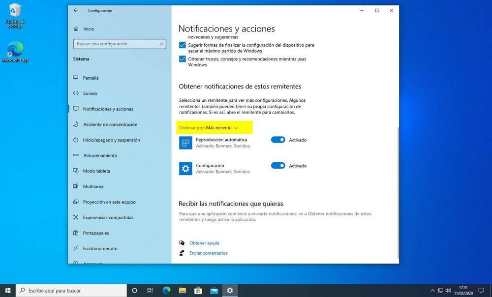 Notificaciones más recientes Windows 10