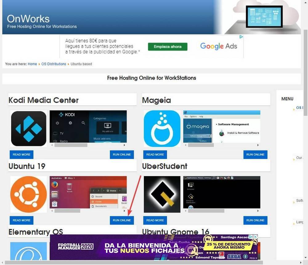 OnWorks-Linuxのディストリビューションリスト