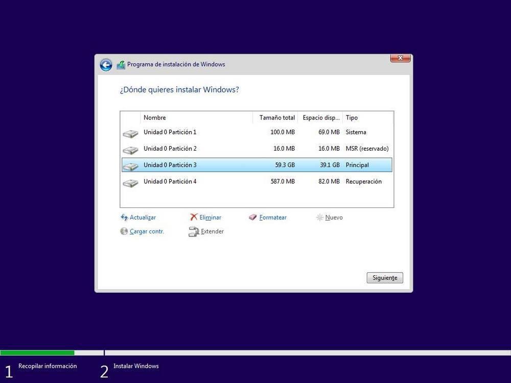 Particiones creadas para instalar Windows
